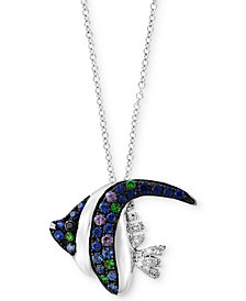 Seaside by EFFY® Multi-Gemstone (3/8 ct. t.w.) & Diamond Accent Angle Fish Pendant Necklace  in 14k White Gold