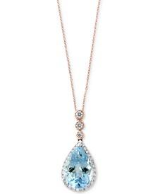 Aquarius by EFFY® Aquamarine (2-1/2 ct. t.w.) & Diamond (1/5 ct. t.w.) Pendant Necklace in 14k Rose & White Gold