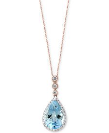 Aquarius by EFFY® Aquamarine (2-1/2 ct. t.w.) & Diamond (1/5 ct. t.w.) Pendant Necklace in 14k Rose & White Gold
