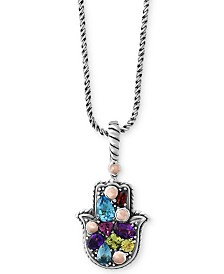 Balissima by EFFY® Multi-Gemstone Hamsa Hand Pendant Necklace (1-1/3 ct. t.w.) in Sterling Silver & 18k Rose Gold