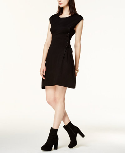 Bar III Lace-Up Sweater Dress, Created for Macy's