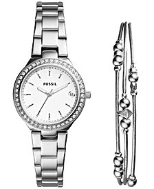 Fossil Women's Blane Stainless Steel Bracelet Watch 31mm Gift Set