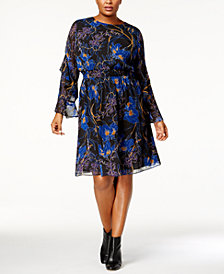 I.N.C. Plus Size Printed Ruffle-Sleeve Dress, Created for Macy's