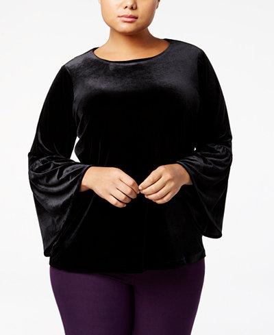 Calvin Klein Plus Size Velvet Bell-Sleeve Top