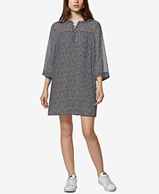 Avec Les Filles Microfloral Printed Pleated Shirt Dress