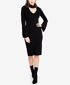 RACHEL Rachel Roy Beaded Bell-Sleeve Sweater Dress