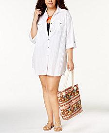 Dotti Plus Size Cotton Cabana Life Shirtdress Cover-Up