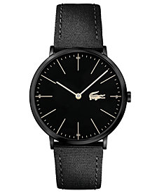 Lacoste Men's Moon Ultra Slim Black Nylon Strap Watch 40mm