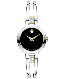 Women's Swiss Amorosa Diamond-Accent Two-Tone PVD Stainless Steel Bangle Bracelet Watch 24mm
