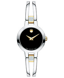 Movado Women's Swiss Amorosa Diamond-Accent Two-Tone PVD Stainless Steel Bangle Bracelet Watch 24mm