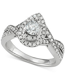 Diamond Teardrop Engagement Ring (1 ct. t.w.) in 14k White Gold