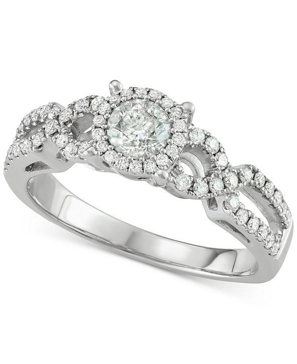 Macy's Diamond Halo Overlap Engagement Ring (3/4 ct. t.w.) in 14k White Gold