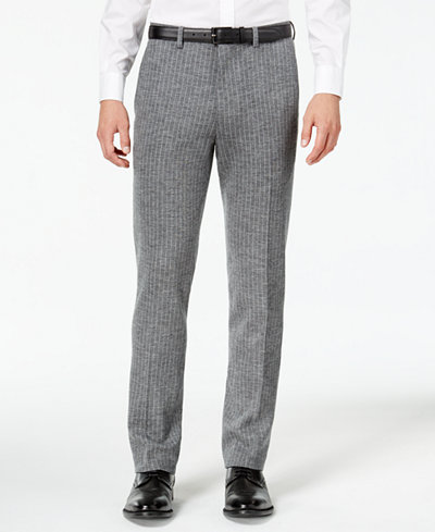 Bar III Men's Slim-Fit Gray Stripe Knit Suit Pants, Created for Macy's