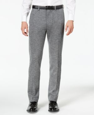 Bar Iii Men's Slim-Fit Gray Stripe Knit Suit Pants, Created for Macy's thumbnail