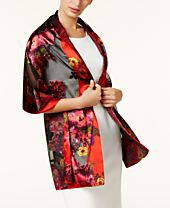 I.N.C. Floral Satin Burnout Wrap, Created for Macy's