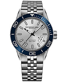 RAYMOND WEIL Men's Swiss Automatic Freelancer Diver Stainless Steel Bracelet Watch 42mm