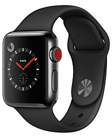 Apple Watch Series 3 (GPS + Cellular),  38mm Space Black Stainless Steel Case with Black Sport Band