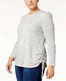 I.N.C. Plus Size Faux Pearl-Studded Sweatshirt, Created for Macy's
