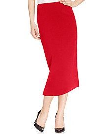 Crepe Pencil Midi Skirt