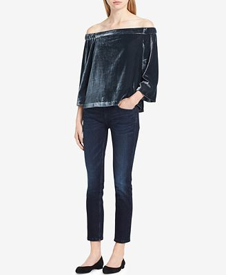 Calvin Klein Jeans Velvet Off-The-Shoulder Top