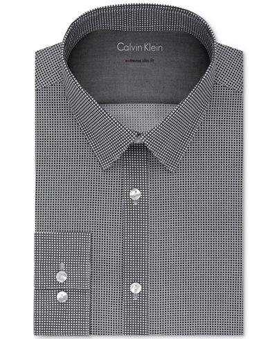 Calvin Klein X Men's Extra-Slim Fit Thermal Stretch Performance Black Print Dress Shirt