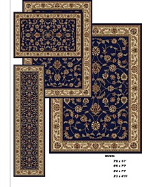 Area Rug Set, Florence Collection 4 Piece Set Isfahan Blue
