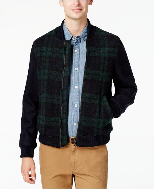 64648f2b ... Tommy Hilfiger Men's Plaid Bomber Jacket, Created for Macy's ...