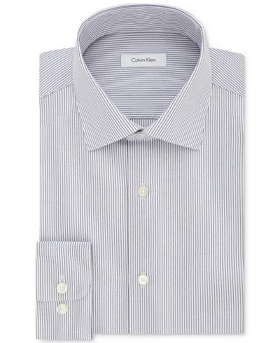 Calvin Klein Men's Regular Fit Non-Iron Performance Viola Stripe Dress Shirt