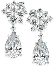 Danori Silver-Tone Crystal Cluster Teardrop Drop Earrings, Created for Macy's