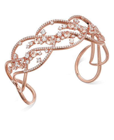 Danori Rose Gold-Tone Crystal Openwork Cuff Bracelet, Created for Macy's