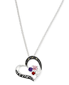 Marcasite & Cubic Zirconia Heart Pendant Necklace in Fine Silver-Plate
