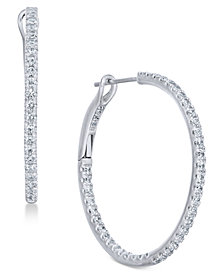 Diamond Hoop Earrings 1 2 Ct T W In 14k White Gold