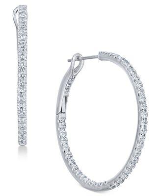 Macy S Diamond Hoop Earrings 1 2 Ct T W In 14k White Gold