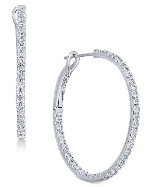 Diamond Hoop Earrings 1 2 Ct T W In 14k White Gold