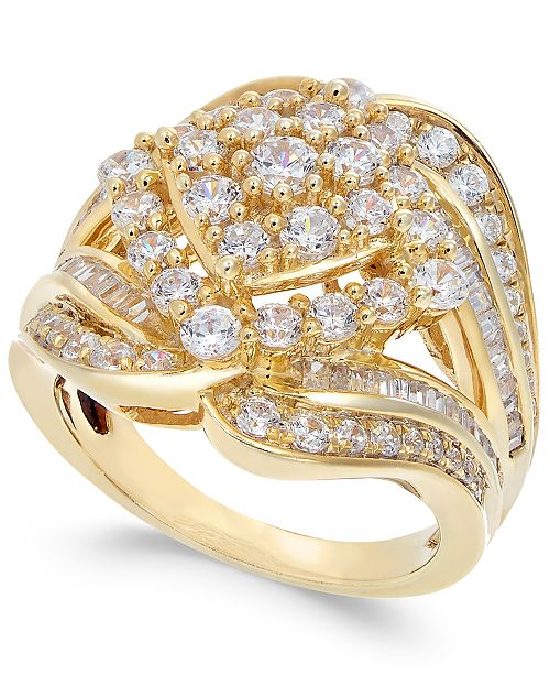 Macy's Diamond Cluster Statement Ring (2 ct. t.w.) in 14k Gold