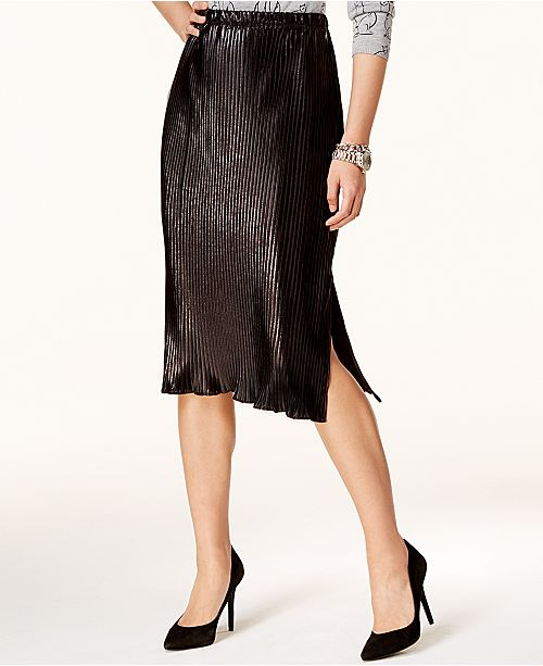 84f00310bbe NY Collection Pleated Metallic Midi Skirt   Reviews - Skirts - Women ...
