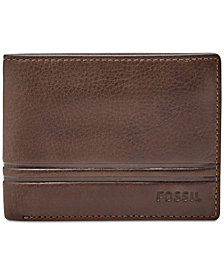 Fossil Men's Leather Watts Bifold Wallet with Flip ID