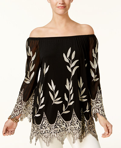 Alfani Petite Embroidered Off-The-Shoulder Top, Created for Macy's