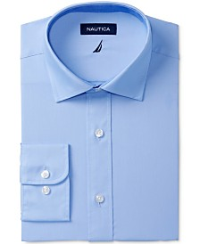 Nautica Men's Classic/Regular Fit Comfort Stretch Wrinkle Free Solid Poplin Dress Shirt