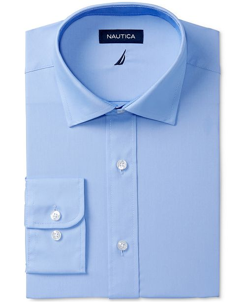 Nautica Men's Classic/Regular Fit Comfort Stretch Wrinkle Free Solid Poplin Dress Shirt