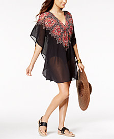 Miraclesuit Mandala Cotton Medallion-Print Embellished Sheer Caftan Cover-Up