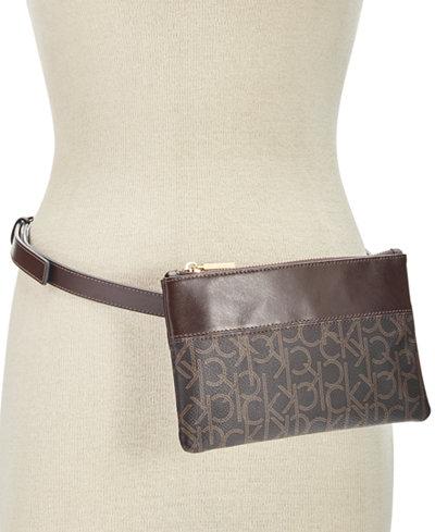 Calvin Klein Leather-Trim Signature Belt Bag