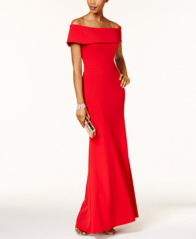 Betsy Amp Adam Ruffled Back Off The Shoulder Gown Dresses