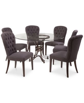 "Caspian Round Metal Dining Furniture, 7-Pc. Set (60"" Table & 6 Side Chairs), Created for Macy's"