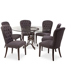 """Caspian Round Metal Dining Furniture, 7-Pc. Set (60"""" Table & 6 Side Chairs), Created for Macy's"""
