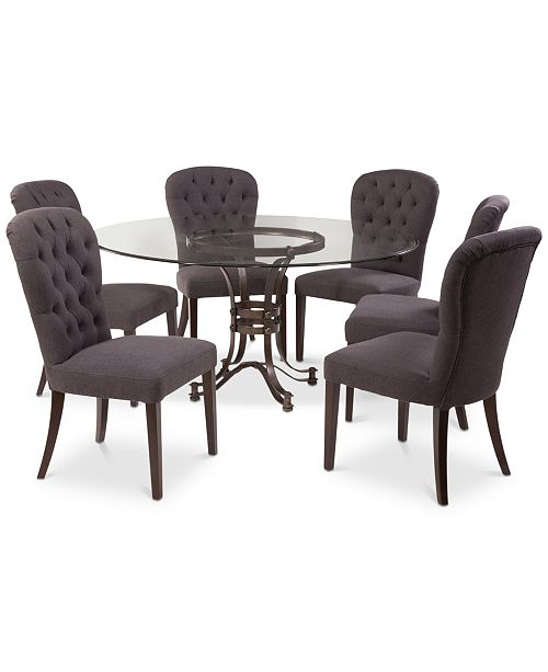 """Furniture Caspian Round Metal Dining Furniture, 7-Pc. Set (60"""" Table & 6 Side Chairs), Created for Macy's"""