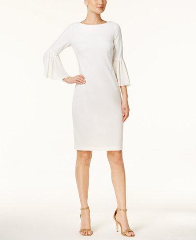 Calvin Klein Pleated Bell-Sleeve Dress