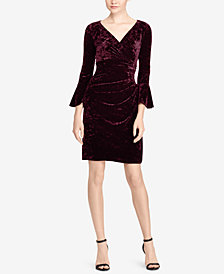 Lauren Ralph Lauren Bell-Sleeve Velvet Dress
