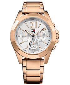 Tommy Hilfiger Women's Rose Gold-Tone Stainless Steel Bracelet Watch 40mm