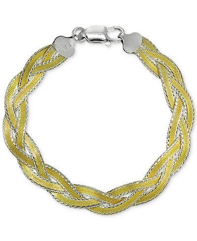 Giani Bernini Two Tone Braided Bracelet In Sterling Silver 18k Gold Plate